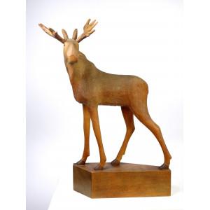 Large Vintage Wooden Moose...
