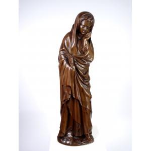 Neo-Gothic Wooden Saint Statue