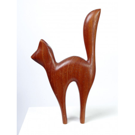Mid-Century Teak Wooden Cat