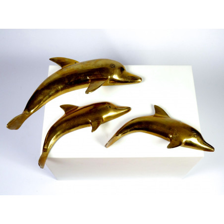 Mid-Century Brass Dolphins Wall Plaques