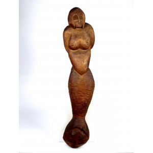 Wooden Mermaid Art Sculpture