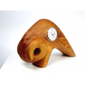 Vintage Wooden Bull with Clock