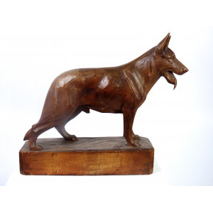 Wooden Shephard Dog Sculpture