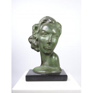 Art Deco Bronze Bust
