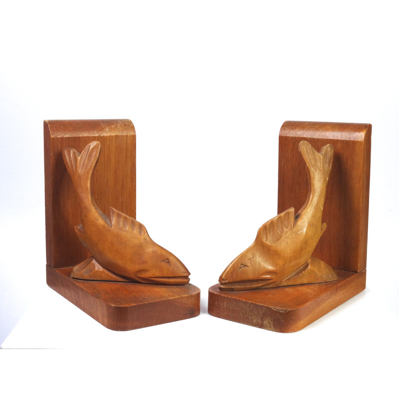 Mid Century Wooden Fish Bookends