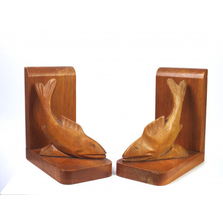 Mid-Century Wooden Fish Bookends