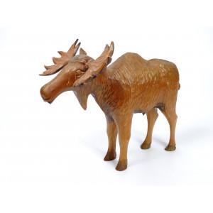 Large Vintage Wooden Moose