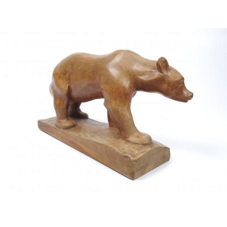 Mid-Century Wooden Bear Sculpture