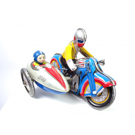 Vintage Motorcycle with Sidecar Wind Up Tin Toy