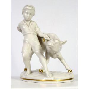 Boy with Calf Figurine,...