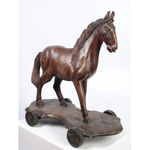 Toy Horse Sculpture on Wheels