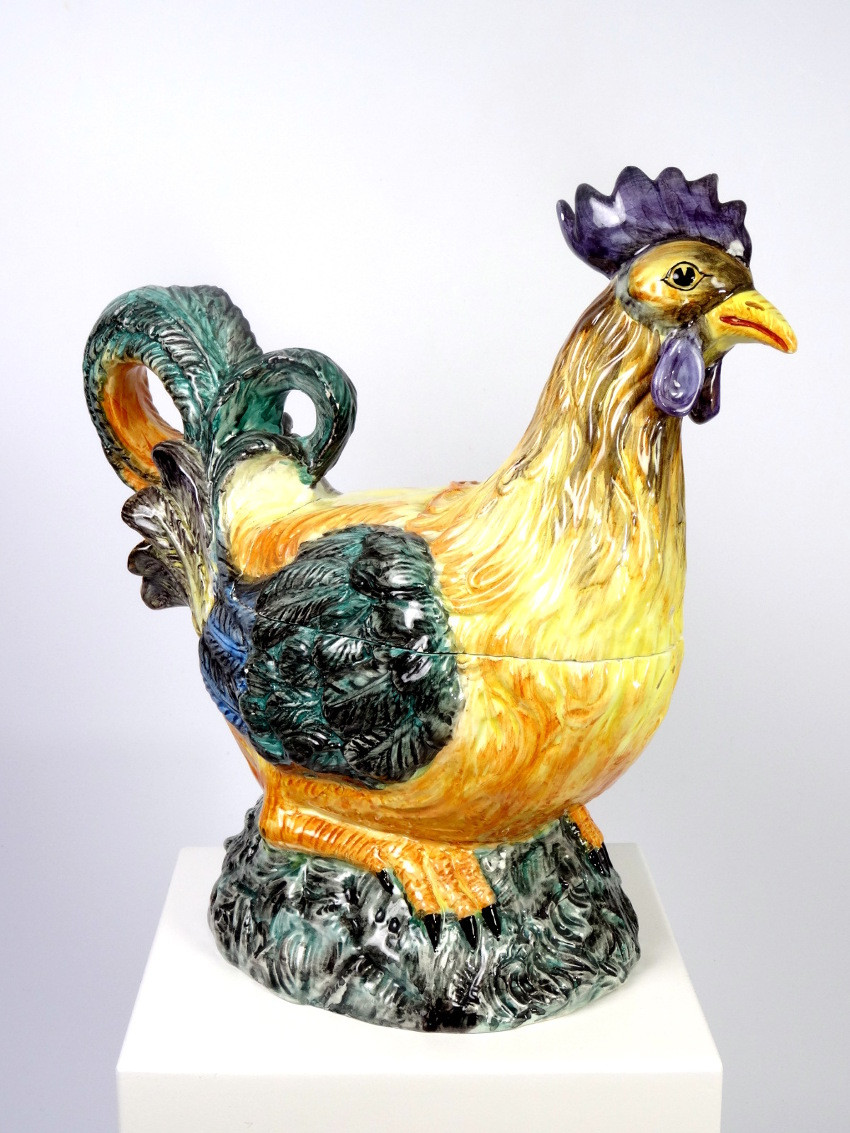 Majolica Mid-Century Rooster Egg Tureen