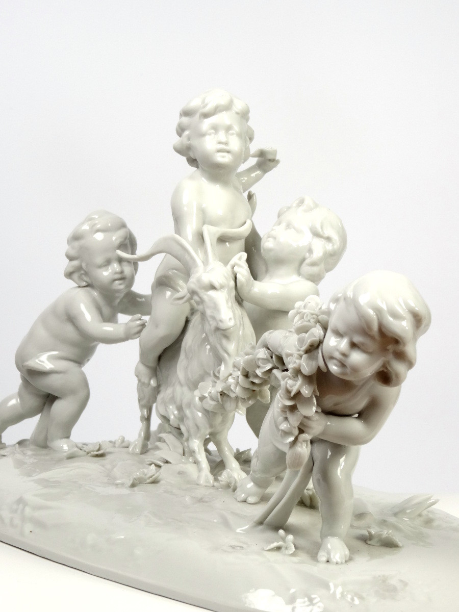Aelteste Volkstedt Porcelain Putti Playing with Billy Goat